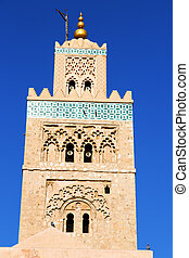 maroc minaret and the blue sky - in maroc africa minaret and...