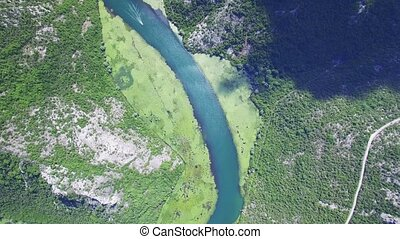 Canyon of river Crnojevica, Montenegro, aerial view.