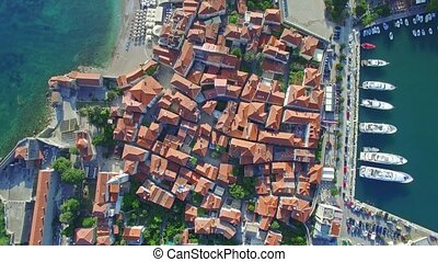 Aerial View of Old Budva in Montenegro. - Aerial View of Old...
