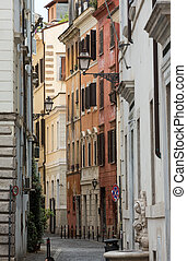 Typical old and narrow street in Rome. Italy
