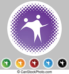 Couple Dancing web button isolated on a background.