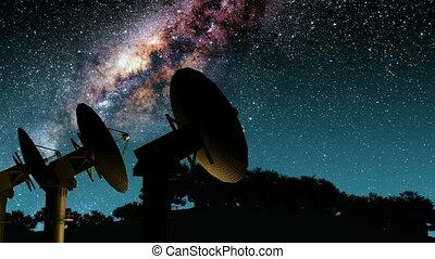 Milky Way Galaxy Night Timelapse Passes Giant Satellite...