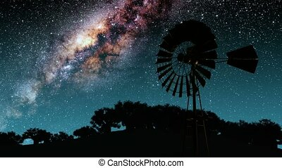 retro windmill generator and Milky Way stars at night....
