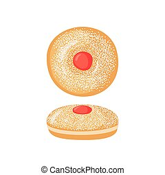 Sufganiyot icon in flat style. - Sufganiyot icon in flat...