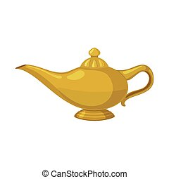 Oil lamp Icon in flat style. - Oil lamp Icon in flat style...