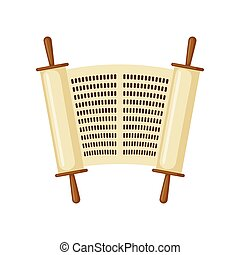 Torah scroll icon in flat style. - Torah scroll icon in flat...