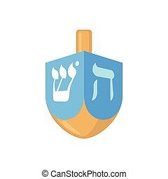 Hanukkah dreidel icon in flat style.