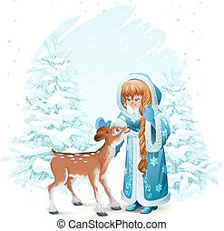 Snow Maiden in blue fur coat and fawn among pine trees in...