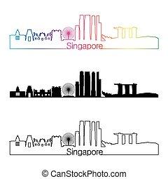 Singapore V2 skyline linear style with rainbow