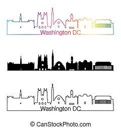 Washington DC V2 skyline linear style with rainbow -...