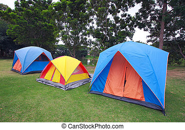 Row of tents for camping on grass