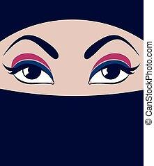 Face in burqa. Vector Muslim woman. Beautiful female eyes...