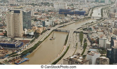 Panoramic view of Ho Chi Minh city or Saigon. Vietnam. -...