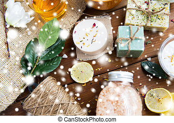 natural body care cosmetics on wood