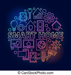 Smart home colorful illustration. Vector round bright symbol...