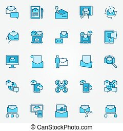 Email marketing blue icons. Vector collection of e-mail...