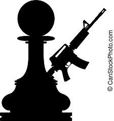 Pawn assault gun - Chess black pawn with a assault gun on...