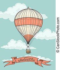 Retro hot air balloon with ribbon - Retro hot air balloon...