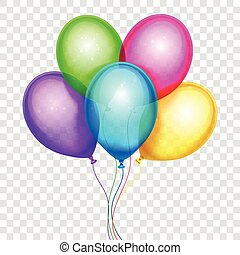 Vector colorful balloons, birthday decoration isolated on...