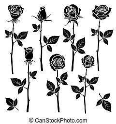 Rose silhouettes, spring buds vector symbols. Black rose...