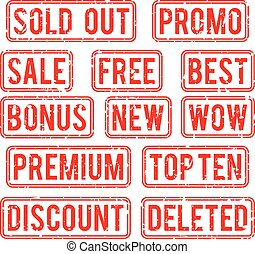 Sold out and promo, bonus sale vector stamps