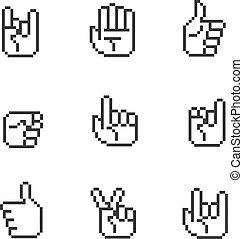 Pixel art 8 bit hands icons and gestures signs set -...