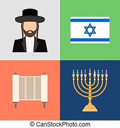 Jewish and judaism symbols. Hope prayer and flag, candles...