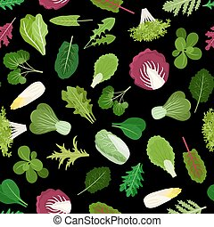 Salad green leaves and herbs background