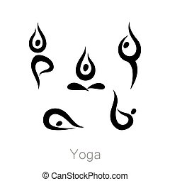 yoga_asana_collection - Set with various poses of yoga. Yoga...