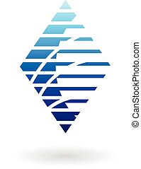 Diamond Shaped Striped Abstract Icon - Vector Illustration...