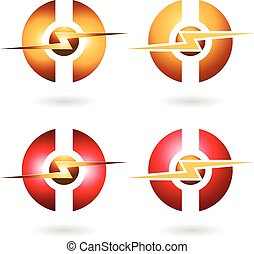 Thunder Sphere Abstract Icon - Vector Illustration of...