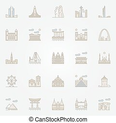 World landmarks colorful icons