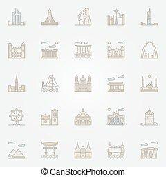 World landmarks colorful icons - World famous landmarks...