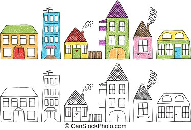 Childish houses drawing - Set of naive childish drawing of...