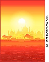 Old Middle East city - Stylized vector illustration of the...