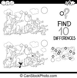 difference game coloring page - Black and White Cartoon...