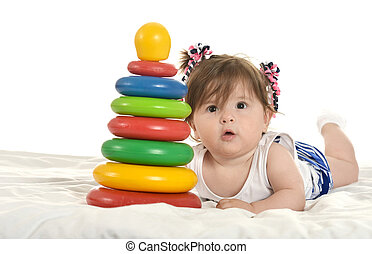 baby, m�dchen, spielende, Spielzeuge