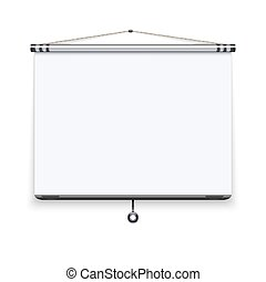 Blank white board, meeting projector screen, presentation display vector illustration