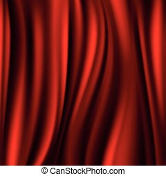 Red silk, satin flowing textile, wavy abstact vector background
