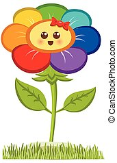 Cartoon Smiling Flower, Happy Daisy Isolated On White. Vector Illustration