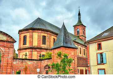 View of Moyenmoutier Abbey in the Vosges Department - France...
