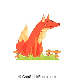 Common Red Fox With Fluffy Coat Standing On Green Grass...