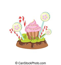 Cupcake, Hard Candy Stick And Lollypop Vegetation Fantasy...