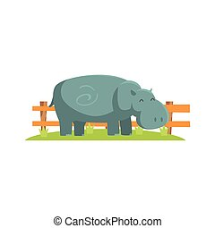 Relaxed Grey Hippo Standing On Green Grass Patch In Open Air...