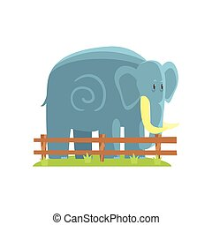 Simplified Blue Elephant Standing On Green Grass Patch In...