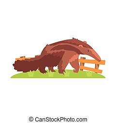Brown Anteater With Long Snout Standing On Green Grass Patch...