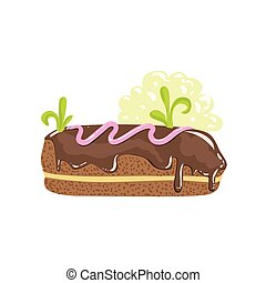 Classic Chocolate Eclair Sweet Pastry Fantasy Candy Land Sweet Landscape Element