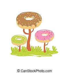 Three Chocolate Trees With Dnut Crowns Fantasy Candy Land Sweet Landscape Element