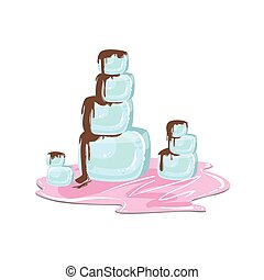 Ice Pile Mountains With Chocolate Syrup Fantasy Candy Land Sweet Landscape Element