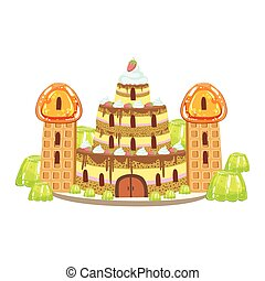 Birthday Cake Castle With Waffle Towers Fantasy Candy Land Sweet Landscape Element
